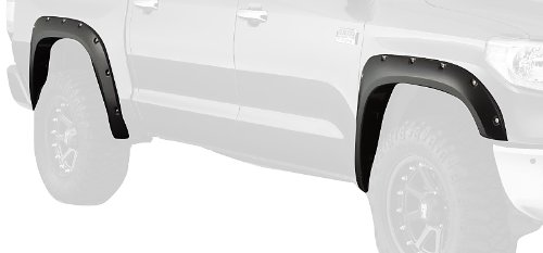 Bushwacker 30918-02 Black Pocket/Rivet Style Smooth Finish 4-Piece Fender Flare Set for 2014-2021 Toyota Tundra