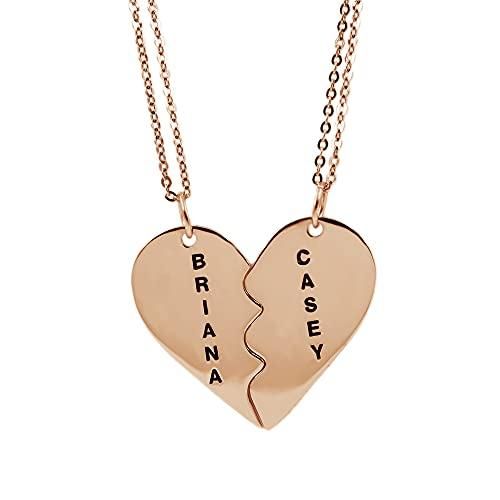 RemonSum Collar personalizado para parejas con forma de corazón y rompecabezas, collares a juego con grabado en acero de titanio/plata de ley, juego de colgante de mejor amigo para hombres y mujeres,