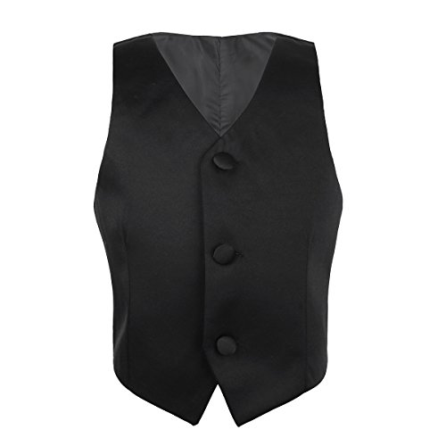 TiaoBug Kinder Jungen Anzug Weste festlich Anzugweste Hochzeit Gentleman kariert Weste Causual Anzug Vintage Bekleidung 92-164 Schwarz 122-128(Herstellergröße: 120)