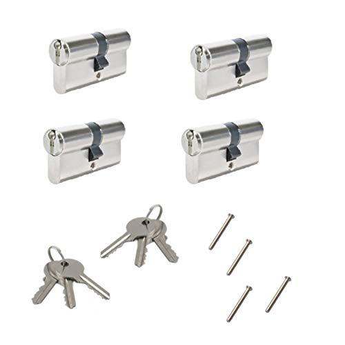 4 tlg. 60mm (30/30) Zylinderschloss mit 6 Schlüssel, Einbauschloss, Türzylinder, Türschloss, Schliesszylinder - Gleichschliessend