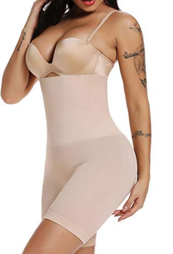 SURE YOU LIKE Damen Figurenformend Miederpants Miederhose Shapewear Bauch-Weg-Effekt Formt Sofort Body Shaper mit Bein Hohe Taille Unterwäsche Atmungsaktive Nahtlose, Beige, M-L