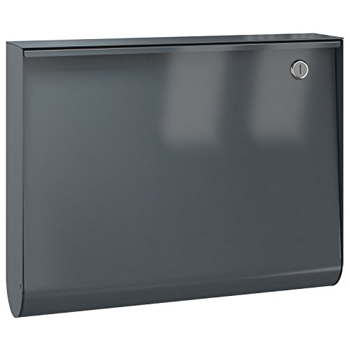 Serafini U-Box Design-Briefkasten anthrazit-grau (RAL 7016), Wand-Postkasten deutsche Markenqualität dunkelgrau 10 Liter, Farbe :7016 glänzend