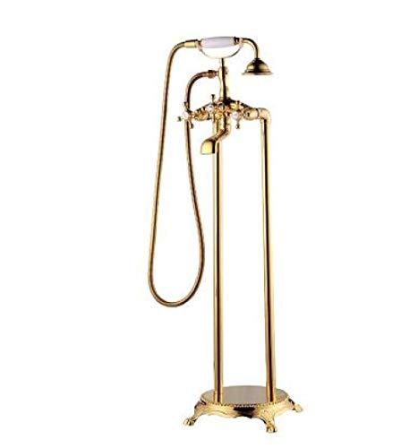 HSIYE,Baño Set,Baño de latón Antiguo, montado en el Piso, Grifo de bañera Independiente, Juego de Ducha, Grifo Mezclador de llenado de bañera para baño, Dorado