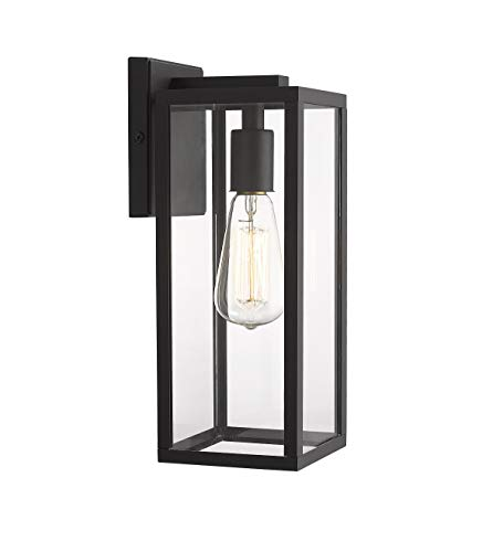 Bestshared Outdoor Wall Lantern, 13.4″ 1-Light Exterior Wall Sconce Light Fixtures,Wall Mounted Single Light, Black Wall Lamp with Clear Glass (1 Pack)