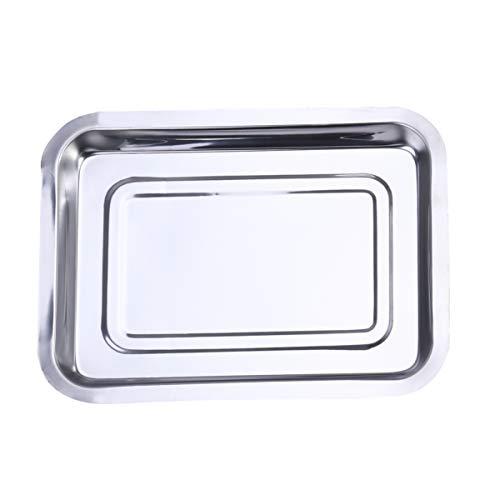 DOITOOL Bakplaat Plancha Grillpan Herbruikbaar Roestvrijstalen Droogbakje Antiaanbaklaag Braadpan Voor Thuis Keuken Barbecue 27X20x2cm