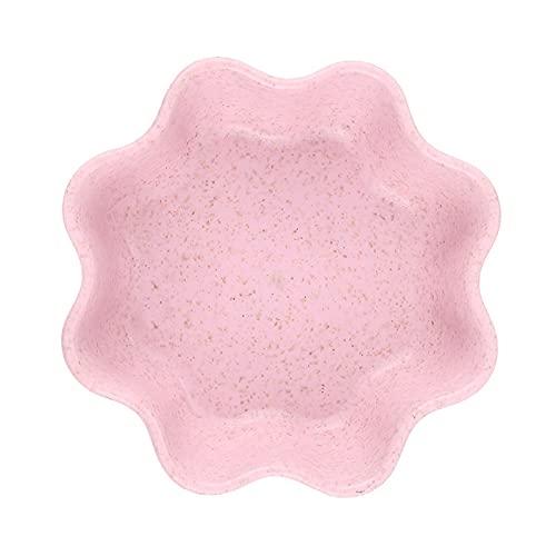 YUQINT Kitchen Tool 1 plato de paja de trigo con forma circular pequeño, plato de comida, plato de salsa, plato de condimento (color rosa ciruelo)
