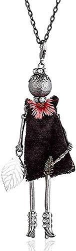 ZGYFJCH Co.,ltd Collar Mujer Collar Moda Lentejuelas Collar Floral Rayas Rhinestone Vestido Muñeca Gargantilla Grande Collar Hoja Bordada Colgante Collar de Cadena Larga para Mujer Regalo
