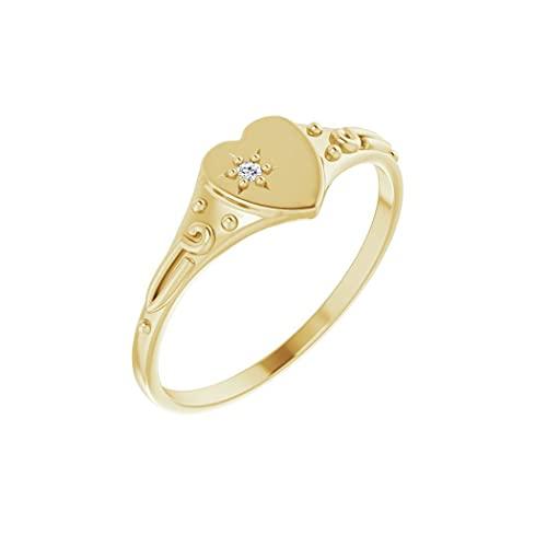Anillo de oro amarillo pulido de 14 quilates con diamante de 01 quilates para jóvenes, con forma de corazón, tamaño J 1/2, regalo para mujer
