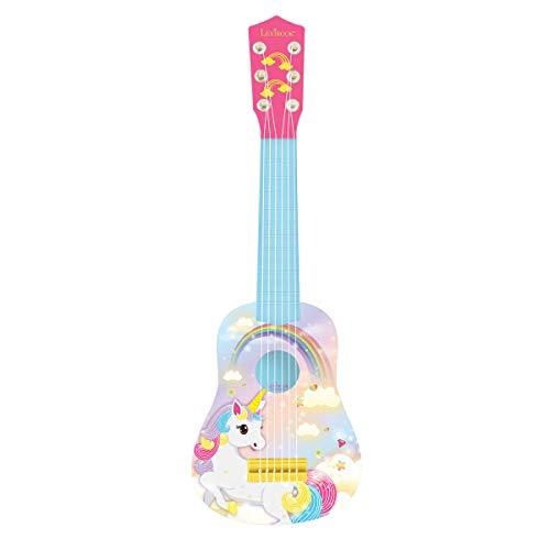 Lexibook première Guitare Licorne pour Enfant, 6 Cordes, 53 cm, Guide Inclus, K200UNI, Rose/Bleu