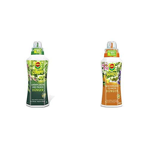 Compo Grünpflanzen- und Palmendünger für alle Zimmer-, Balkon- und Terrassenpflanzen, 1 Liter & Mediterraner Pflanzendünger für mediterrane Pflanzen, Spezial-Flüssigdünger mit extra Kalium, 500 ml