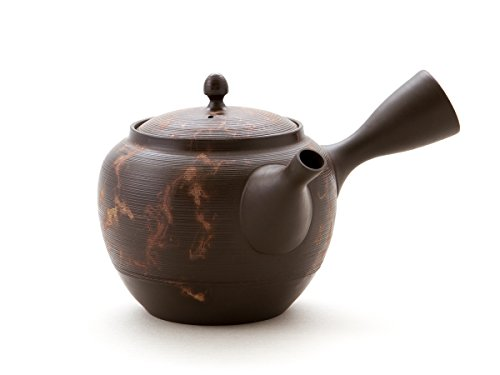 Gyokko- Japanische Tee-Kanne Tokoname MOKAKE. Braun mit Mokake-Technik. Handmade auf der Töpfer-Scheibe. Unglasiert, integriertes Keramik-Sieb
