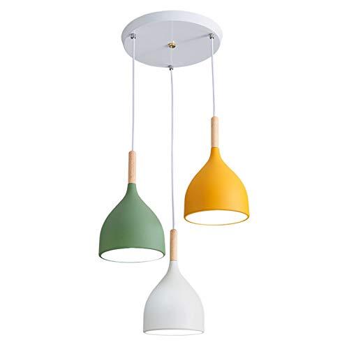 Qiao jin #Lámparas Colgantes Nordic Creativo 3 Cabezas de la lámpara Moderna Simple Macaron Barra de café Restaurante Estudio Dormitorio Forjado iluminación de la lámpara de Hierro