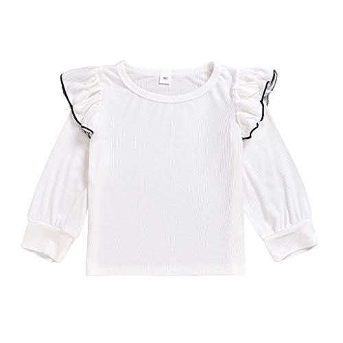 HSKB baby meisjes bovendeel mouwen met lotusbloem zijde lange mouwen strepen herfst katoen shirt