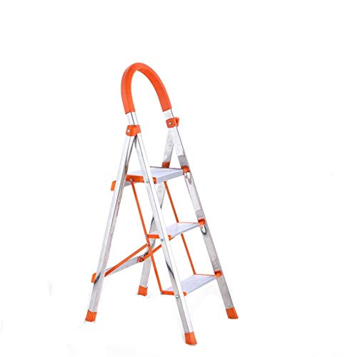 Stainless Steel Ladder, Three-step Eenzijdige Ladder Rust-proof in vier stappen ladder Safety Antislip Trappen - Verbreed Pedal Design - (Maat: 42 * 68 * 131cm) XIUYU (Size : 40 * 54 * 107cm)