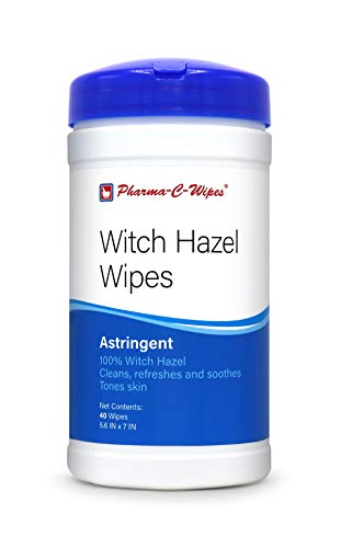 100% Witch Hazel Wipes (1 Canister, 40 Wipes)...