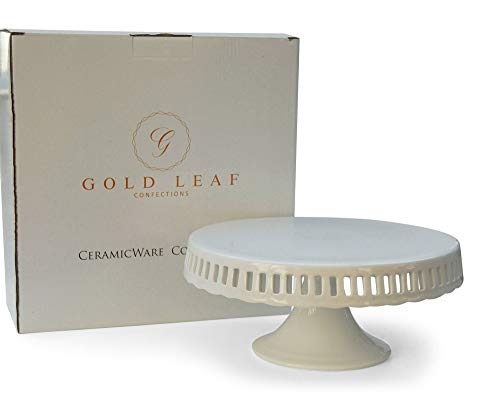 Pedestal Footed Cake Stand with Interchangeable Ribbon Trim (Includes 3 Grosgrain Ribbons)
