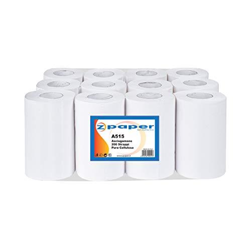 ZPAPER - 12 Rotoli Asciugamani - Carta Pura Cellulosa, 200 Strappi a Rotolo, 2 Veli, Anima a Spirale, confezionati. Rotoli Bobine Asciugatutto