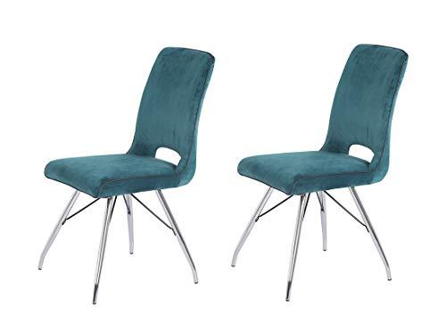Meubletmoi - Set di 2 sedie in velluto blu e gambe in acciaio cromato, comfort e qualità, design contemporaneo vintage