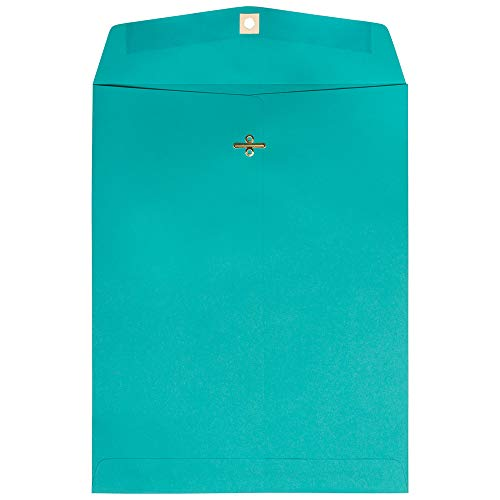 JAM PAPER 10 x 13 Open End Catalog Colored Envelopes with Clasp Closure - Sea Blue Recycled - 100/Pack