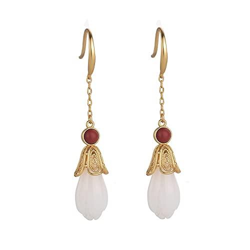 Diseño De Nicho Pendientes De Flores De Magnolia Temperamento Largo Hanfu Cheongsam Pendientes Fairy Sen Ear Jewelry