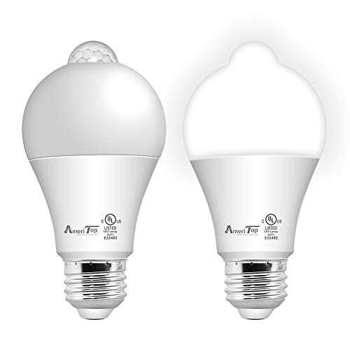Motion Sensor Light Bulb- 2 Pack, AmeriTop 10W(60W Equivalent) 806lm Motion Activated Dusk to Dawn Security LED Bulb; UL Listed, A19, E26, Auto On/Off Indoor Outdoor Lighting (5000K Daylight)