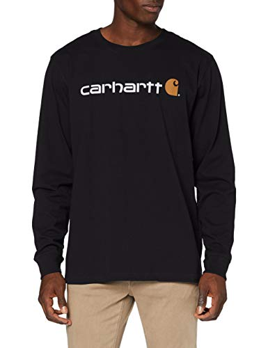 Carhartt Long-Sleeve Workwear Signature Graphic T-Shirt-Core Logo, Black, L Uomo