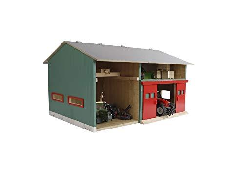 Van Manen Kids Globe Werkstatt mit Lagerraum (Maßstab 1:32, Dach aufklappbar, Tore beweglich, Maße 41x54x32 cm, ohne Spielfiguren + Zubehör) 610816