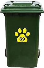 Kliko Sticker/Vuilnisbak Sticker - Hondenpoot - Nummer 69-18x16,5 - Geel