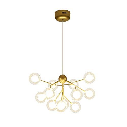 Dellemade Sputnik - Lámpara de araña dorada con 12 luces en forma de globo para comedor, salón, cocina, oficina, cafetería, restaurante
