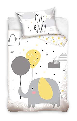 Babybettwäsche Kinderbettwäsche 90 x 120 cm + 40 x 60 Bettbezug Baby (203004Oh Baby Grau)