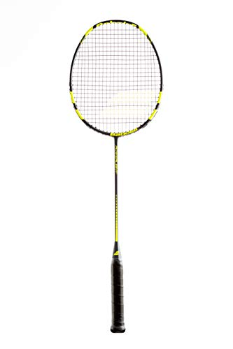 Babolat Power Light Badminton Schläger Allround Racket schwarz/gelb besaitet + inklusive Tragetasche