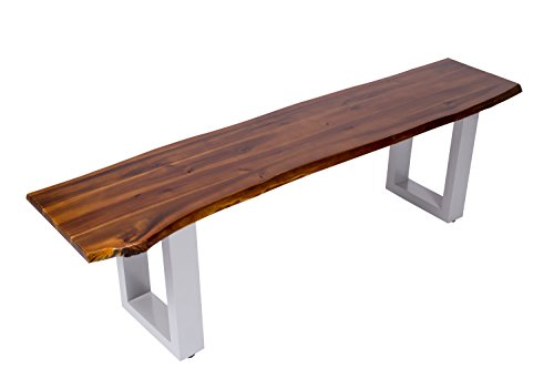SAM® Sitzbank 180x40 cm Ida, Akazien-Holz, massive Holzbank, Baumkantenbank mit silber lackierten Metallbeinen