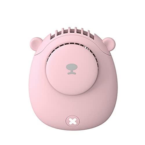 GYAM Mini Ventilador portátil de Dibujos Animados de Bolsillo pequeño Ventilador de Cuello Colgante de Mano Ventilador de Carga USB,Rosado