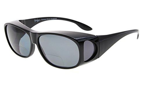 Eyekepper Fitover gepolariseerde Bifocal zonnebril te dragen over reguliere bril Polycarbonaat gepolariseerde Lens Sunshine Readers +3.00 Zwart