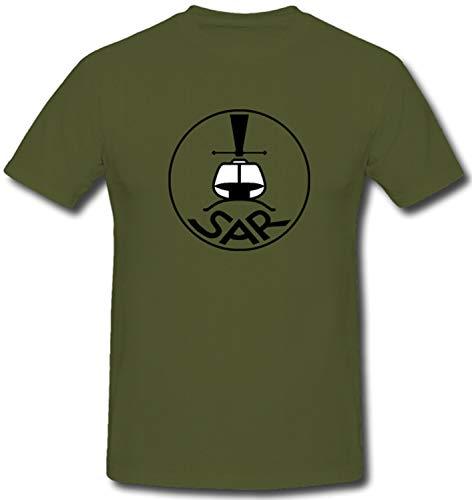 Bundeswehr Luftwaffe SAR Search and Rescue Hubschrauber - T Shirt #1373, Farbe:Oliv, Größe:Herren M