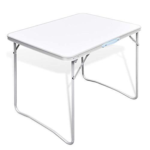 Mesa de camping portátil, mesa de pícnic, ligera, plegable, resistente, para jardín, barbacoa, fiesta, con asa de transporte, marco de metal, 80 x 60 cm