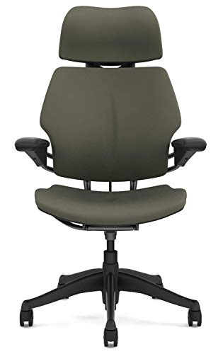 Humanscale Freedom Office Desk Chair with Headrest - F213 Advanced Adjustable Duron Arms - F213G Graphite Frame Ash Fabric - Soft Hard Floor Casters