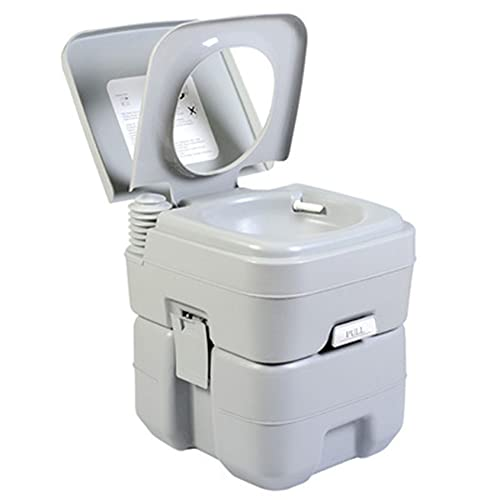 WZHH 5.3 Gallon Outdoor Portable Toilet On-Board Air Pressure Assisted Flushing and Deodorant Separable Suitable for Camping, Hiking, Traveling, Traffic Jam (Color : Gray)