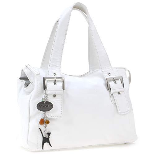 Catwalk Collection Handbags - Leder - Umhängetasche/Ledertasche/Schultertasche - JANE - Weiß