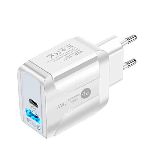 Odoukey Cargador USB Tipo C Wall rápido Adaptador de energía de 18W PD para teléfonos Inteligentes Blanco de la UE