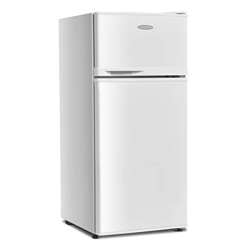 GOFLAME Compact Refrigerator, 3.4 cu. ft. Mini Cooler Fridge with Removable Glass Shelves, Adjustable Thermostat, Freestanding Fridge with Top Door Freezer for Dorm, Office, Apartment Use (White)
