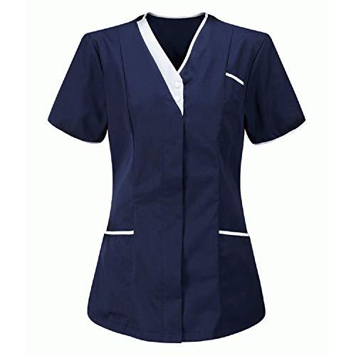 QiFei Kasack Damen Pflege Einfarbig Bluse T-Shirt Schlupfkasack mit Taschen Kurzarm V-Ausschnitt Rundhals Schlupfhemd Berufskleidung Krankenpfleger Zwei Taschen Uniformen