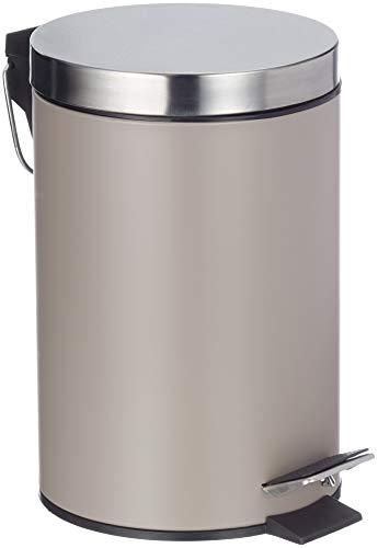Zeller 18209 - Cubo de basura con pedal, ø17 cm, altura 26 cm, 3 litros, color gris pardo metalizado