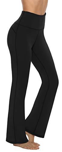 Persit Damen Schlaghose Yogahose, High Waist Freizeithose Sporthose Jazzpants Schwarz - S