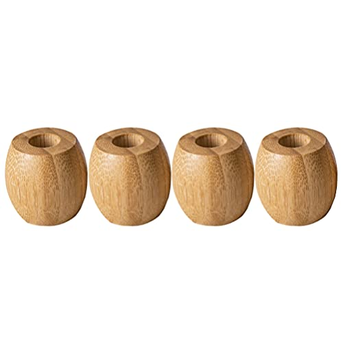 Cabilock 4 soportes para cepillos de dientes de madera, un solo pie, pequeño soporte individual, accesorio de baño para encimera