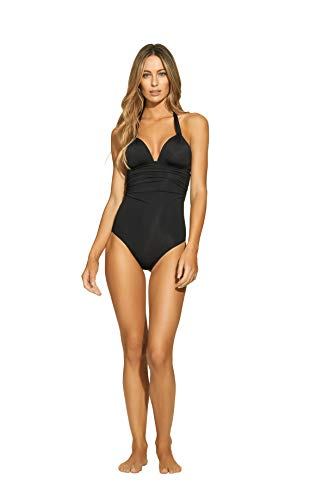 ViX Paula Hermanny Women's Solid Black Bia Tube Full Coverage One Piece Swimsuit, XL