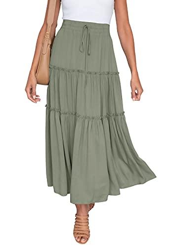HAEOF Women's Boho Elastic High Waist A Line Ruffle Swing Beach Maxi Skirt Green