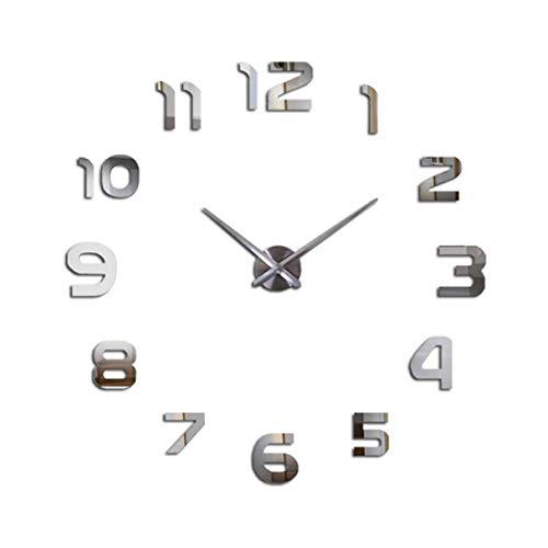 Moderne große Wanduhr DIY 3D Quarzuhr dekorative Uhr für Wohnzimmer Küche Schlafzimmer rahmenlose Dekoration Silber