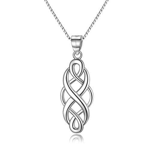 GOXO 925 Sterling Silver Good Luck Polished Celtic Knot Pendant Necklace for Womens