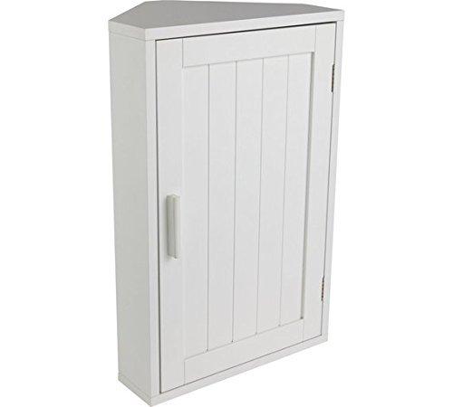 OnlineDiscountStore Mobile da bagno angolare in legno di alta qualità, colore: bianco